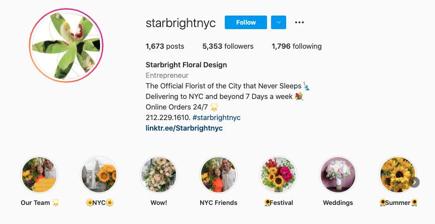 Starbright NYC Instagram bio
