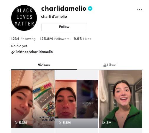 Charli D'Aelio verified TikTok