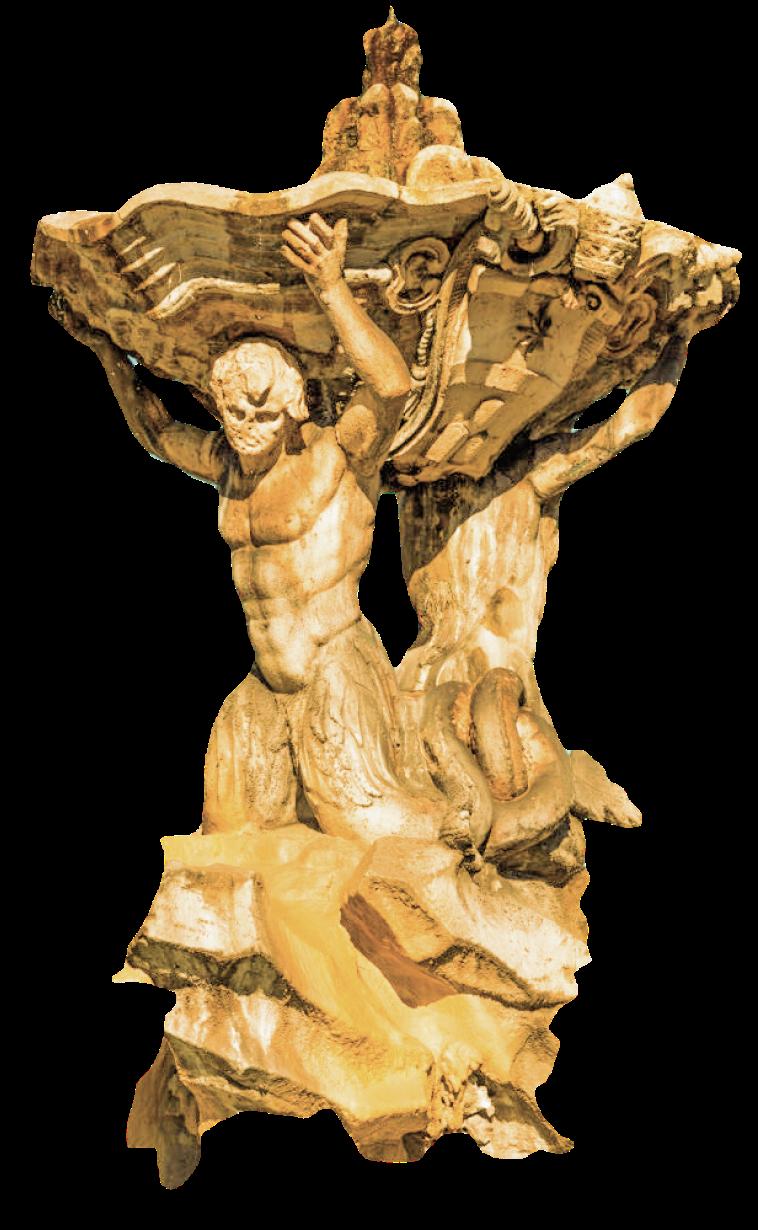 Triton's Fountain or Fontana dei Tritoni with Temple of Portunus (Temple of Fortuna Virilis) in Piazza della Bocca della Verita, Rome, Italy.