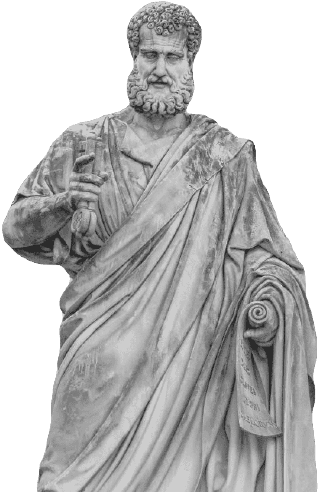 the statue of Saint Peter in front of the Saint Peters Basilica in Rome