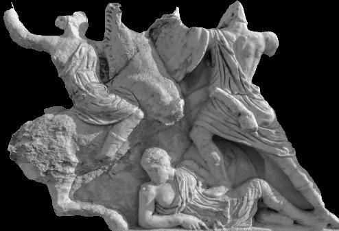 Decoration details of a an ancient sarcophagus, Ephesus, Turkey.