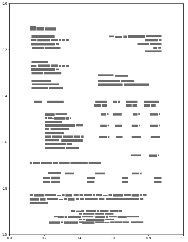 Shows gray bounding boxes of a sample invoice