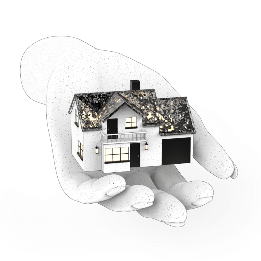 A speckled house floating in a cupped hand