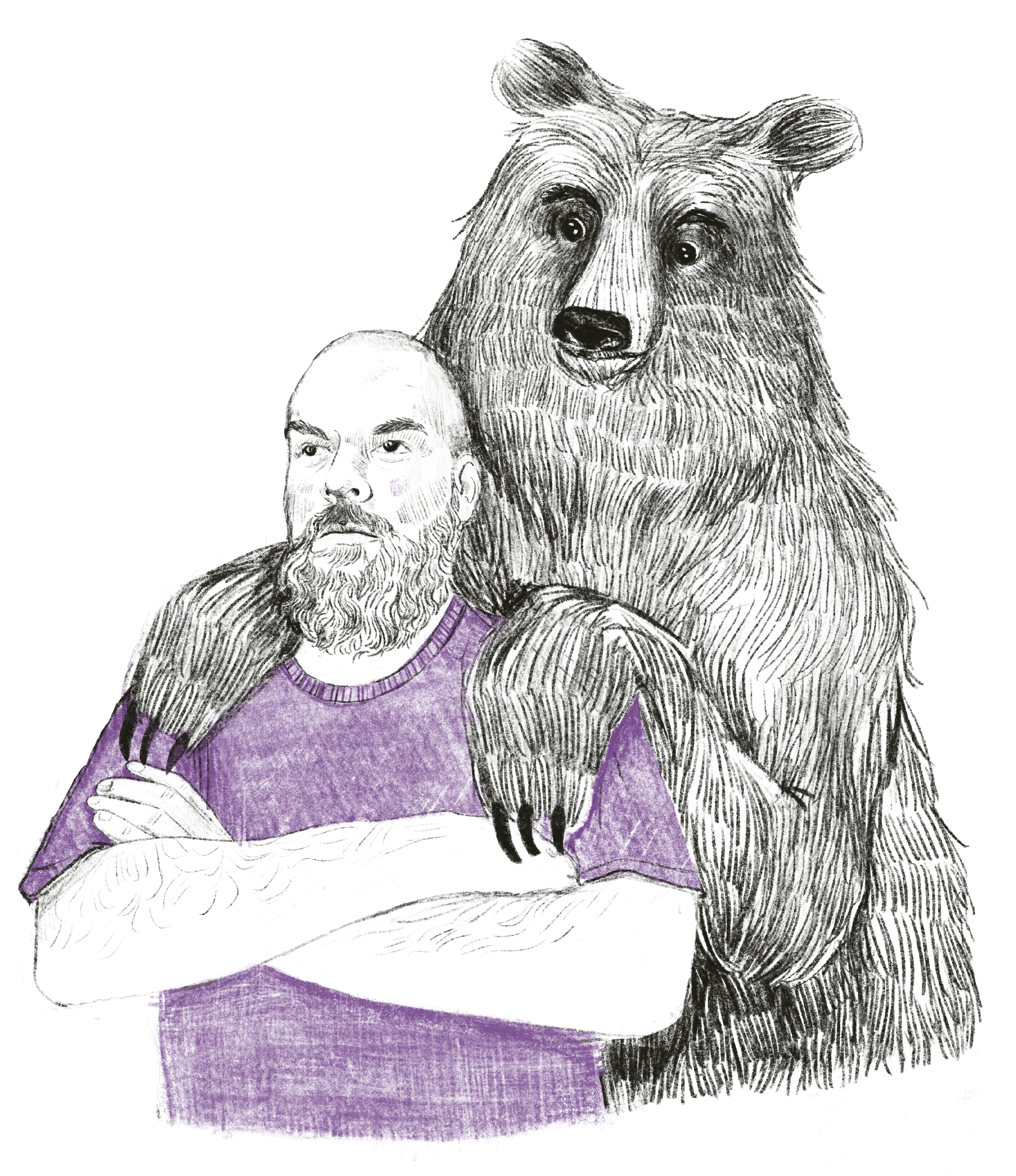 A man and a bear. Fat and handsome. Jeremy Hamman wears purple.