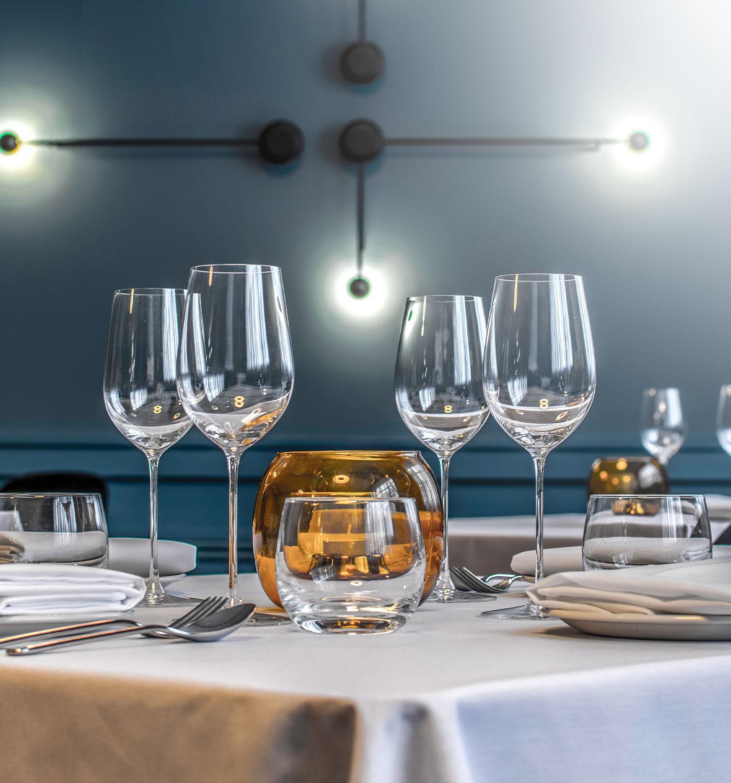 A closeup shot of glasswares of a high end restaurant