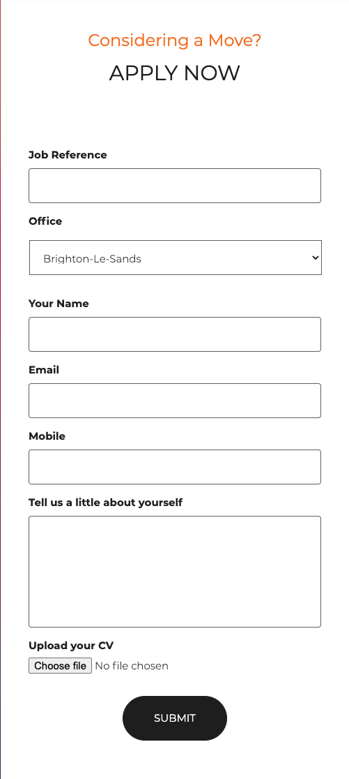Mobile view of McGrath career application form