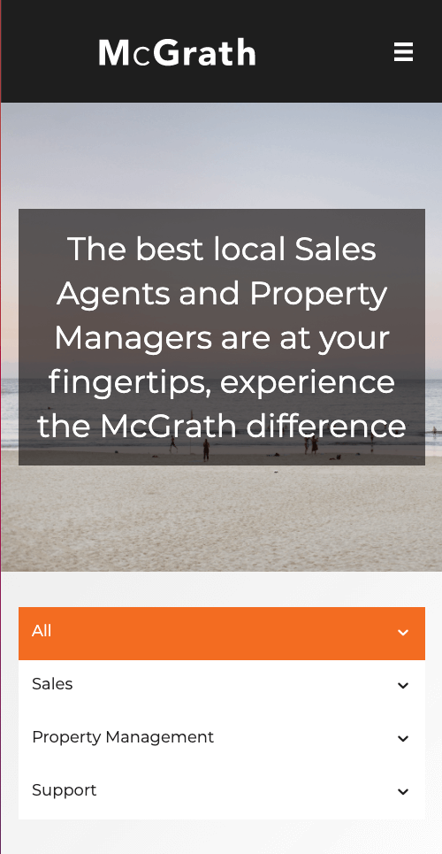Mobile view of McGrath Team page