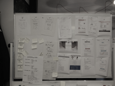 Pieces of paper on a whiteboard from a workshop for Proxyclick