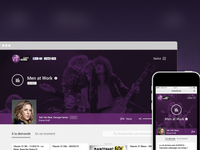 Maradio on a desktop browser and on a mobile device.