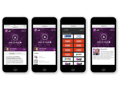 Four snapshots of the new Maradio.be  on a mobile device