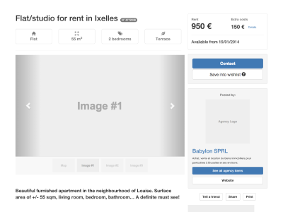 Snapshot of a wireframe for a real-estate website
