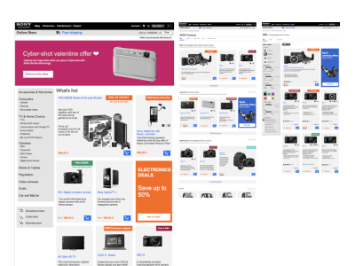Wireframes for Sony Europe