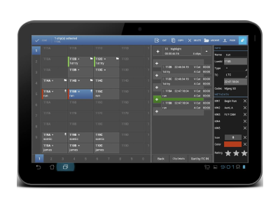 A snapshot of a design for EVS on a tablet