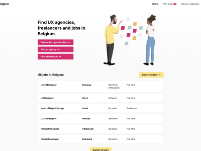 A screenshot from uxdesigners.be job listing site
