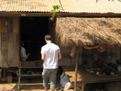 Loucas Papantoniou visiting a Cambodian hat
