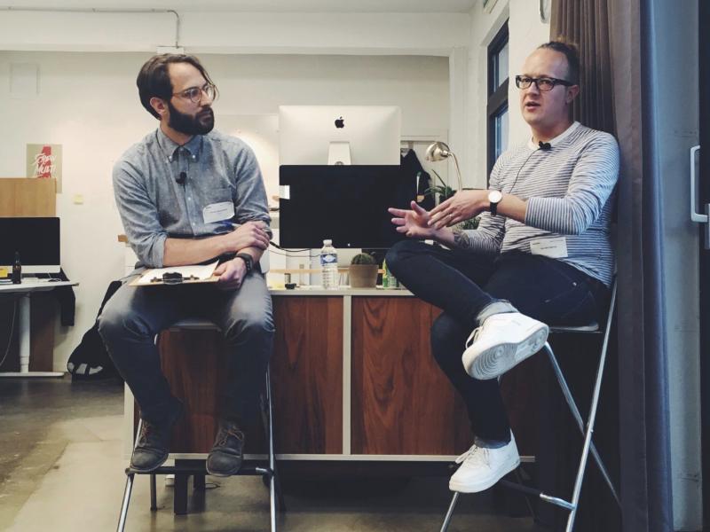 Loucas Papantoniou talking to Nadia Ferreira during an Umami design interview