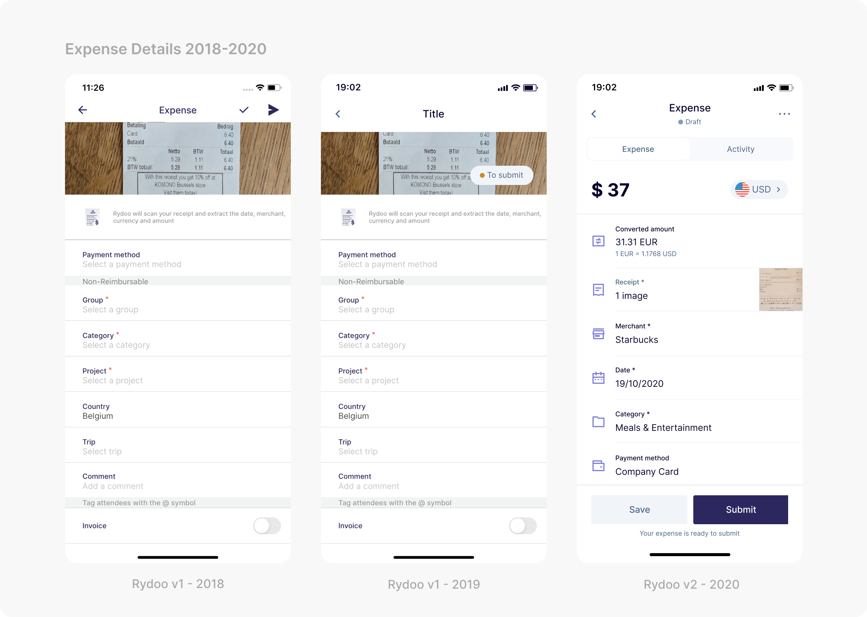 Three mobile screenshots showcasing the expense details from 2018 to 2020