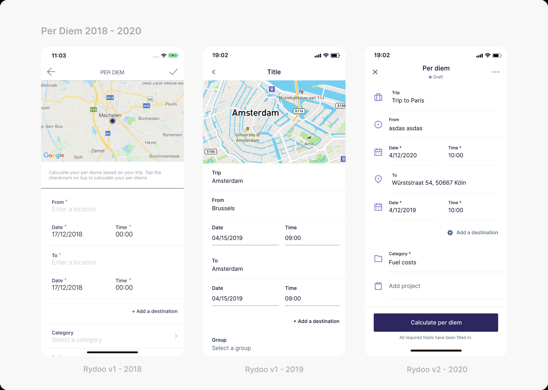 Three mobile screenshots showcasing per diem from 2018 to 2020