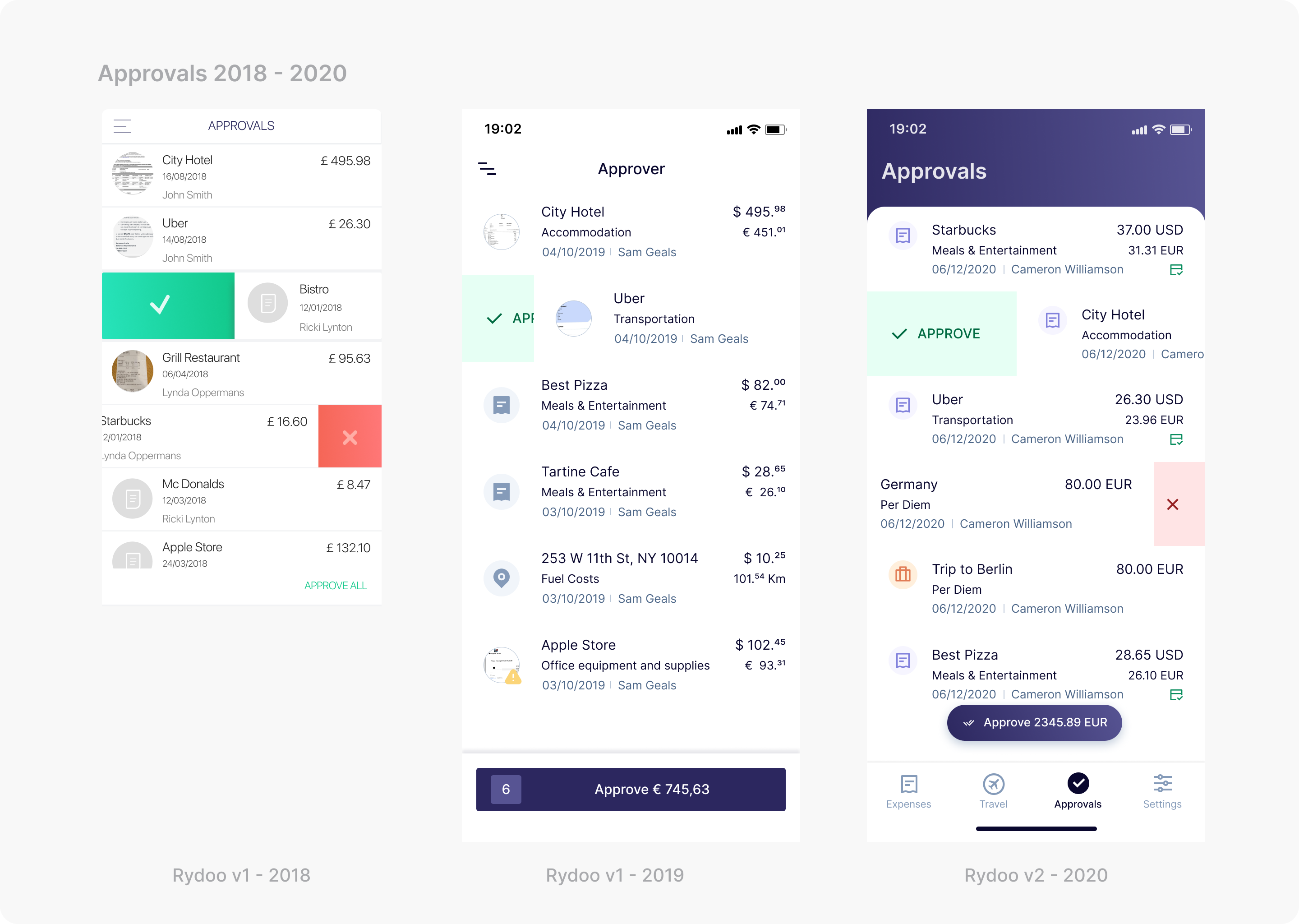 Three mobile screenshots showcasing approvals from 2018 to 2020