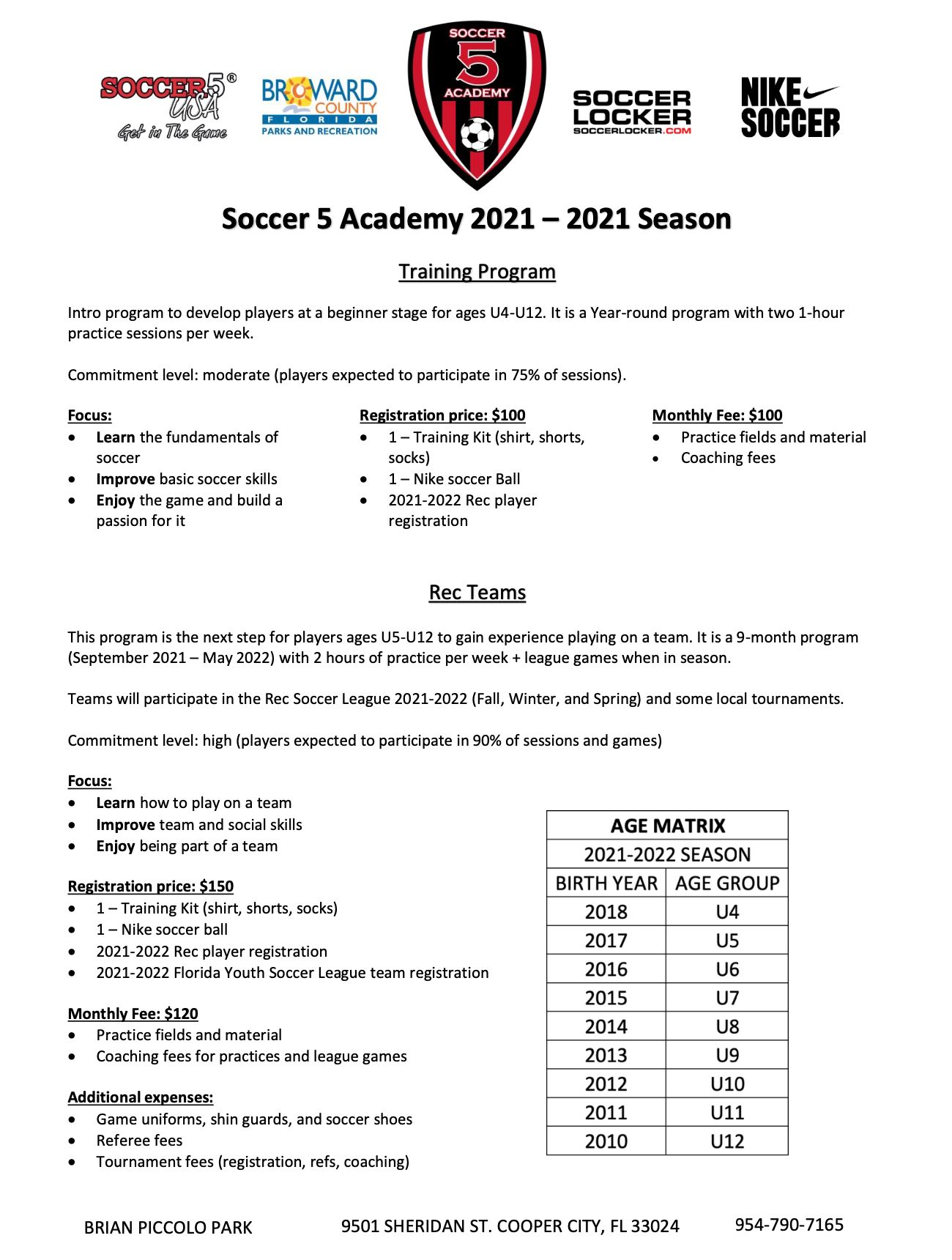 Soccer 5 Brian Piccolo Park Broward Academy 2021-2022 Season Details Part 1