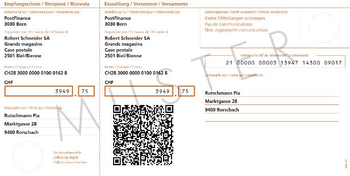 Neuer Einzahlungsschein mit Datencode