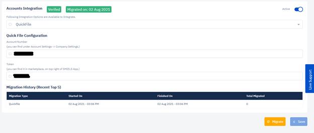 Smiels account Integration settings - verified
