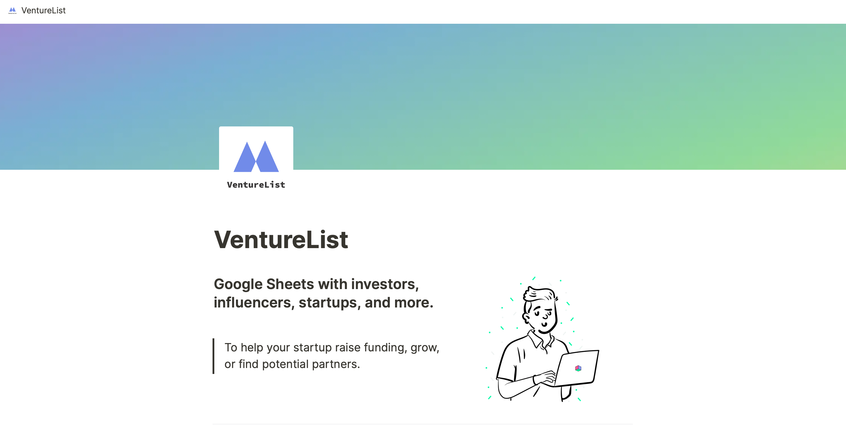 Google Sheets with investors, influencers, and startups
