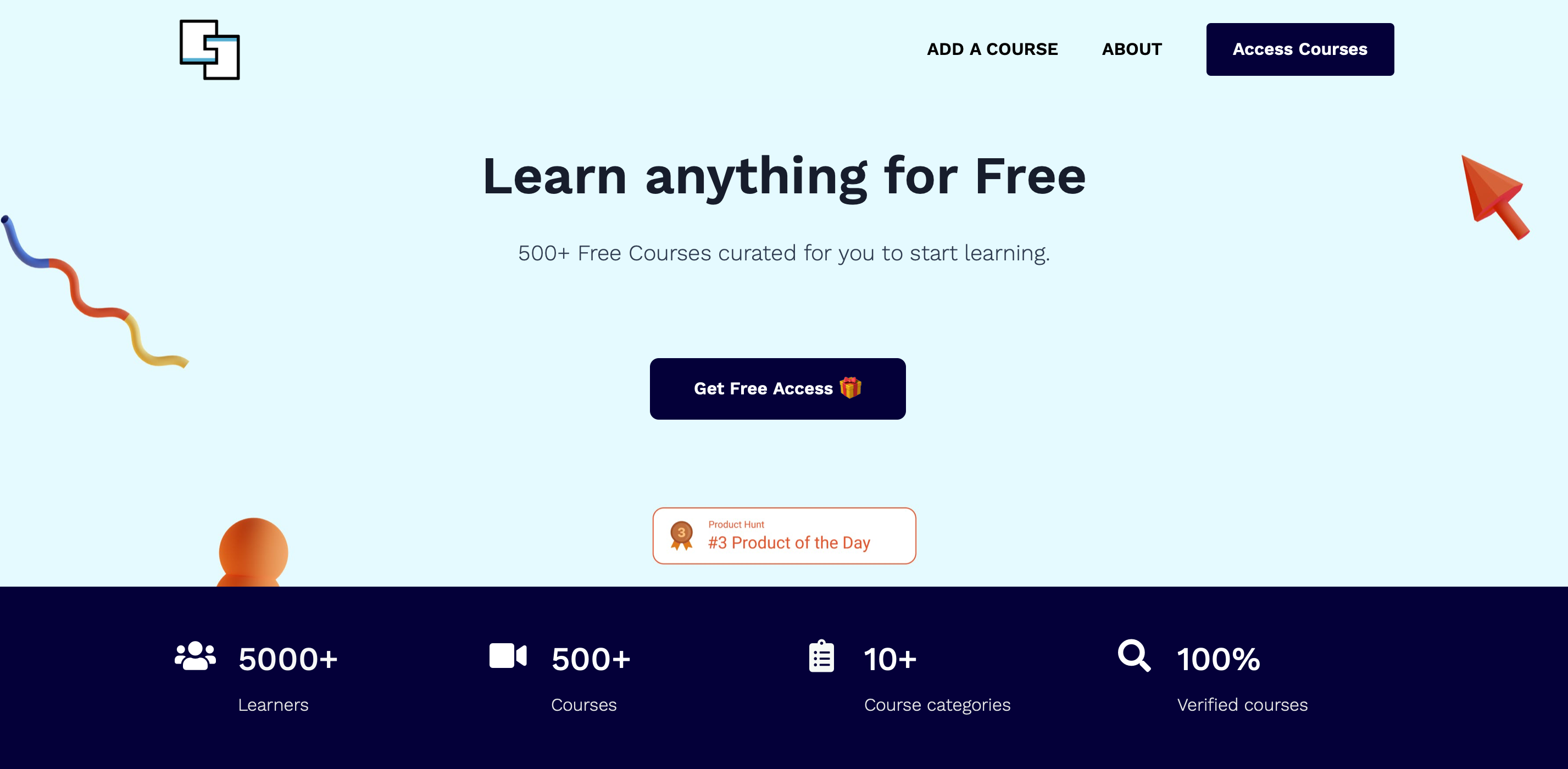 500+ free courses curated for you to start learning