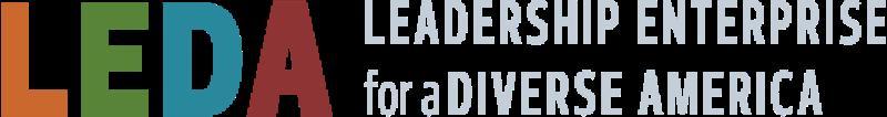 "Logo of ""LEDA"" the Leadership Enterprise for a Diverse America."