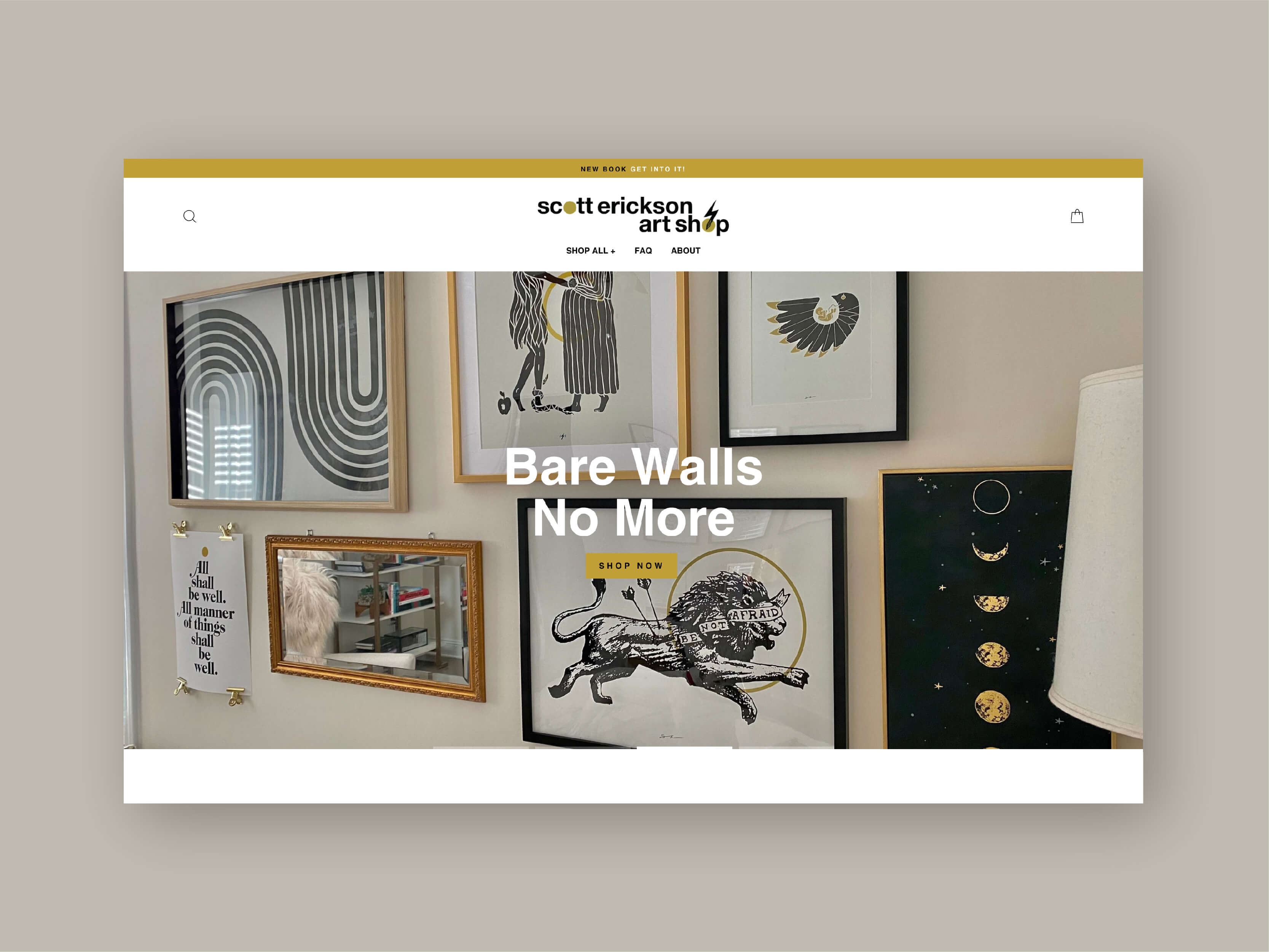 """""""Bare Walls No More."""" Home page web design layout, slide two, by Camille Zyniewicz."""