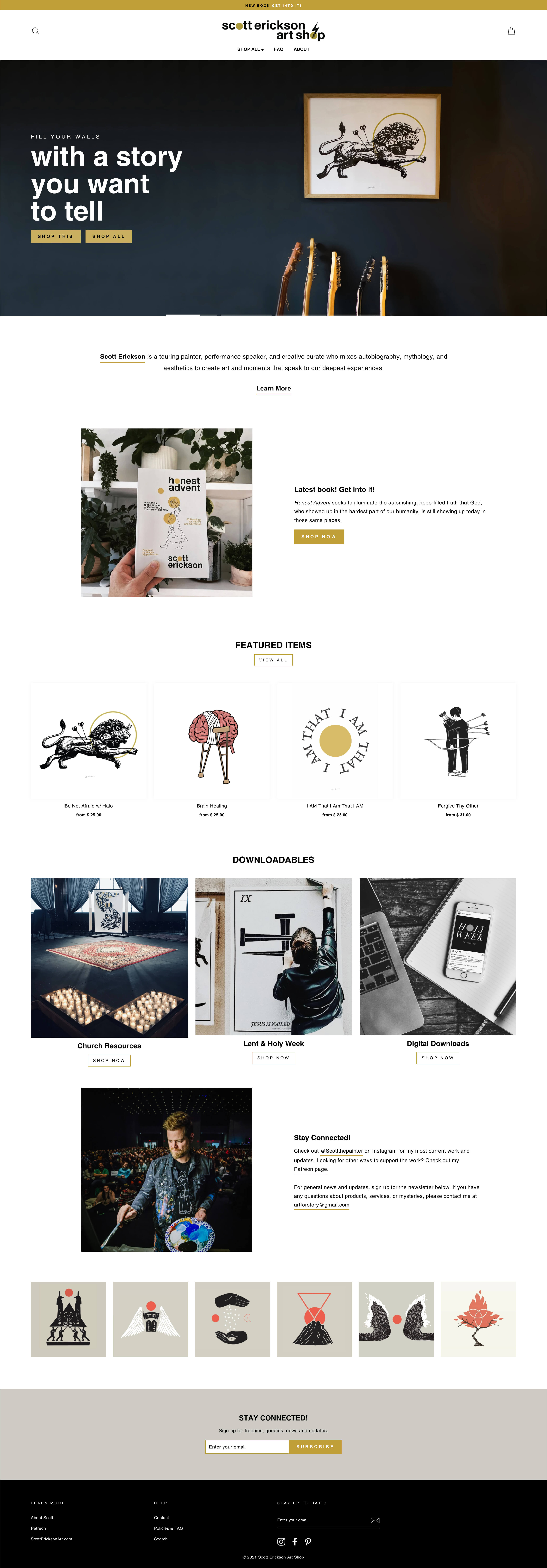 Home page web design layout for Scott Erickson Art Shop by Camille Zyniewicz.