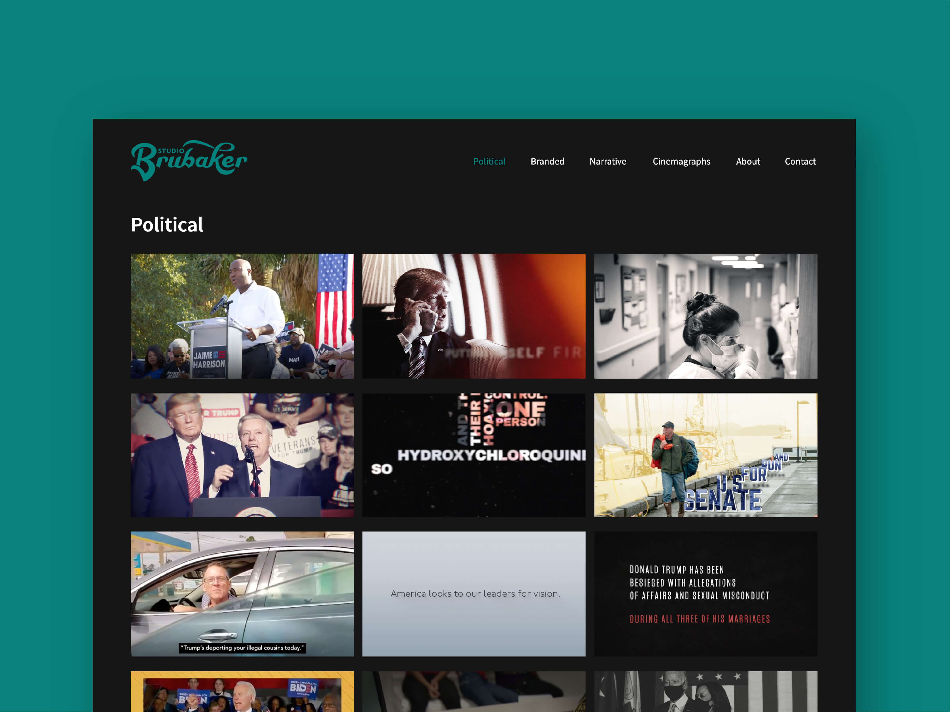 Featured project image. Studio Brubaker web design layout by Camille Zyniewicz.