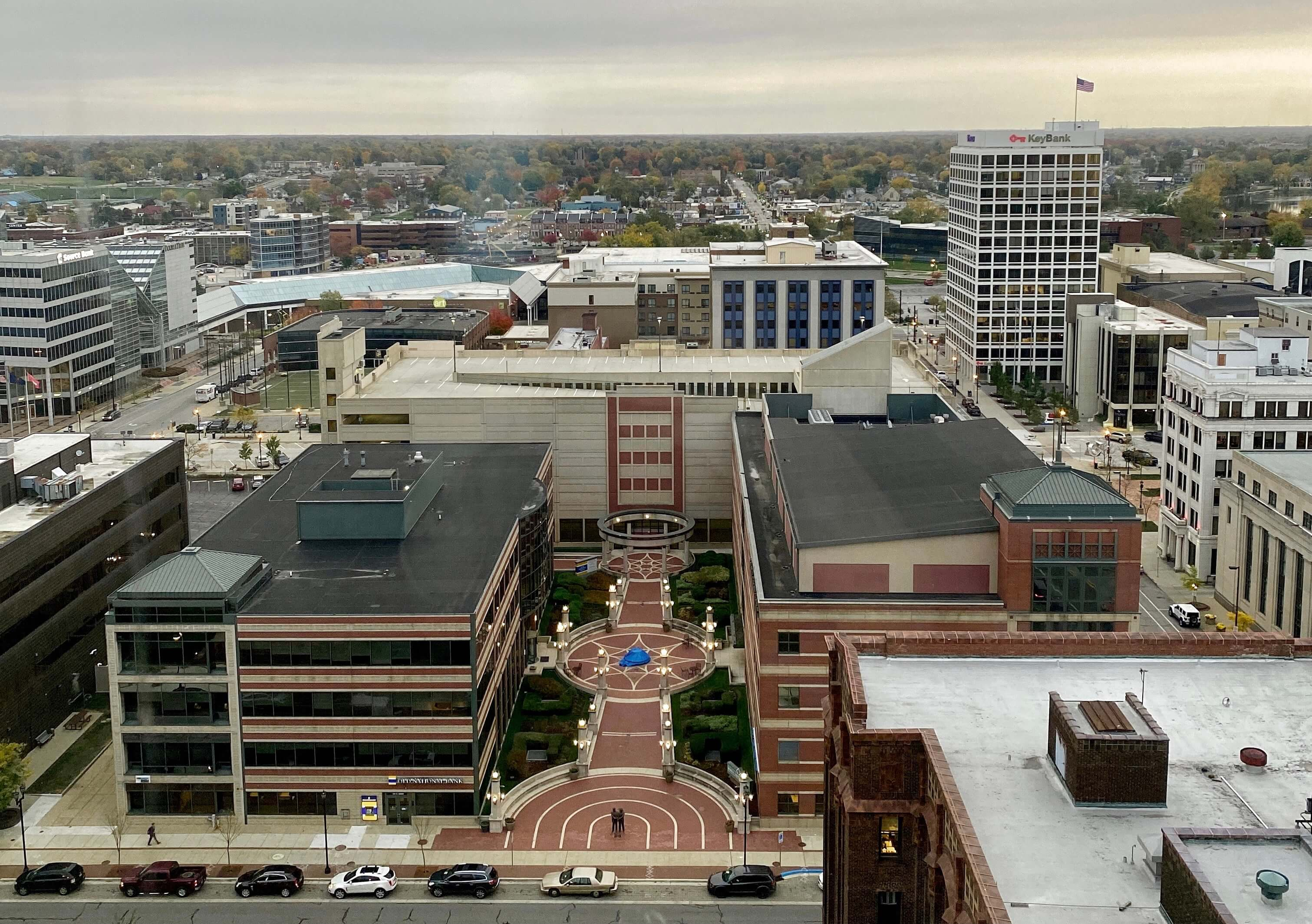 Overlooking downtown South Bend from the top floor of the County-City building. Photo by Camille Zyniewicz.