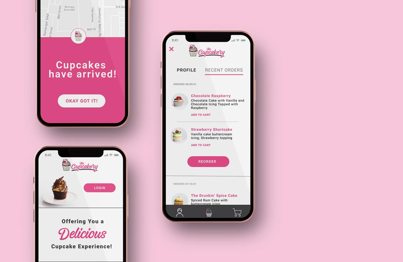 Mockup of cupcakery app
