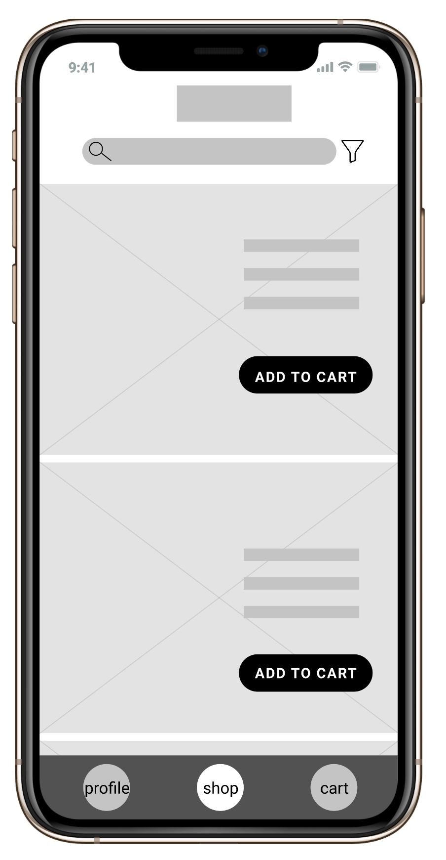 Wireframe for shopping