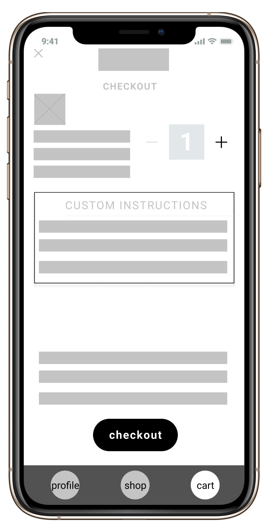 wireframe for checkout