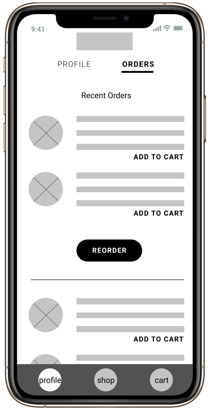 Wireframe for recent orders