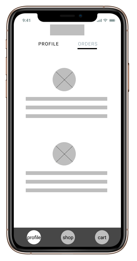 before wireframe of order page