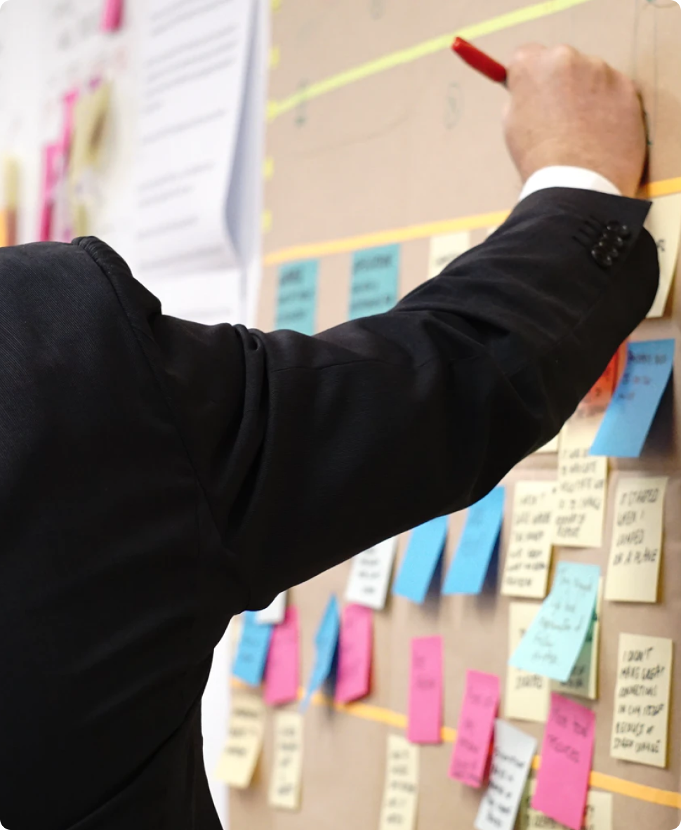 Photo of a person placing a sticky note