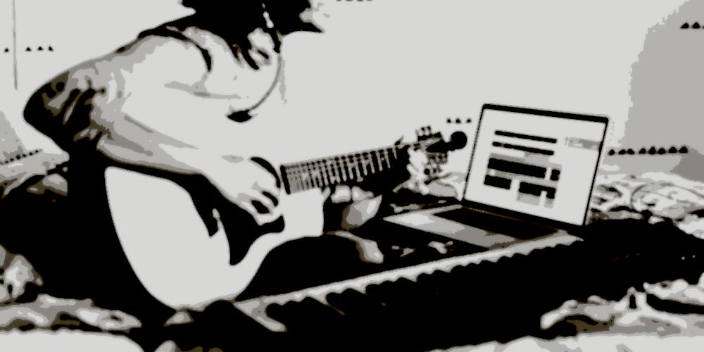 A woman plays an electric bass