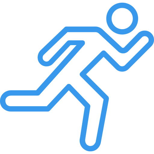 An icon of a person running.