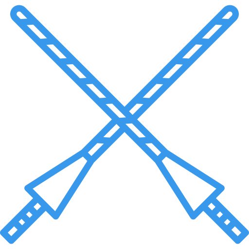An icon of two gladiator spears.