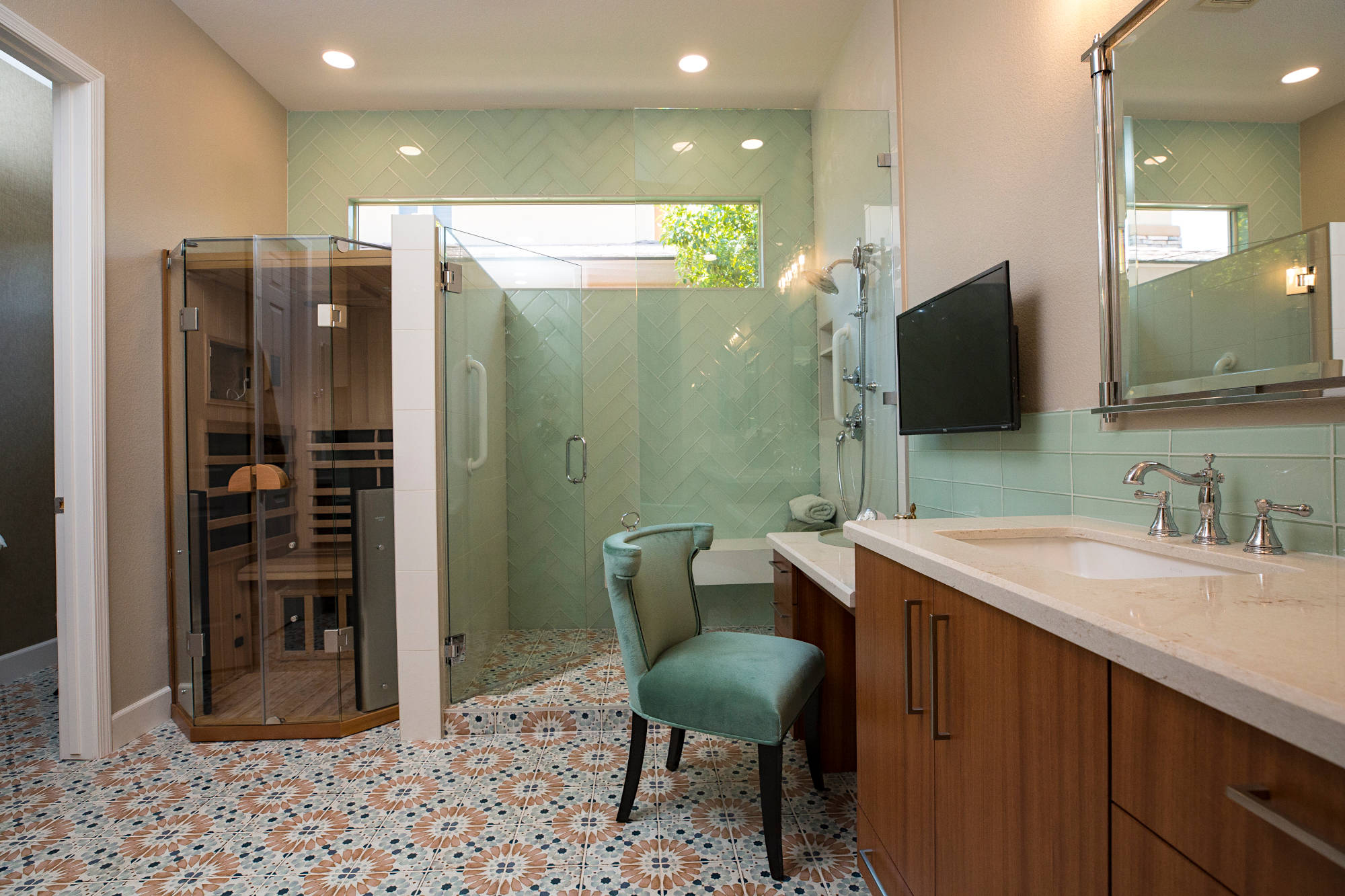 Master bath with large walk-in shower and dry one person sauna.