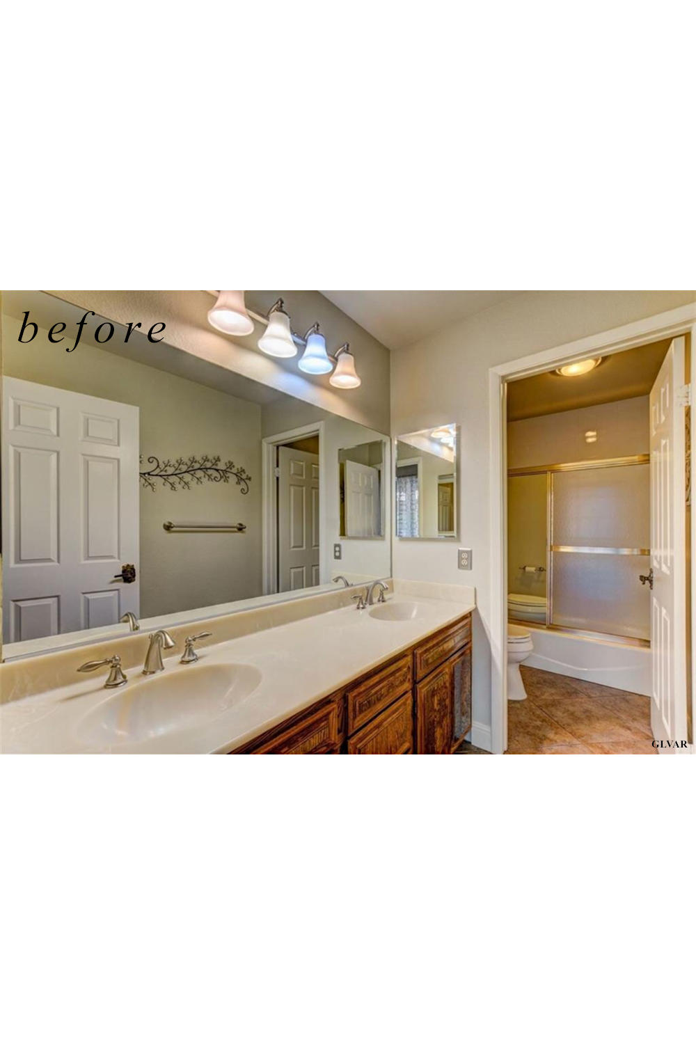 Before remodel image: date and old bath with shower.