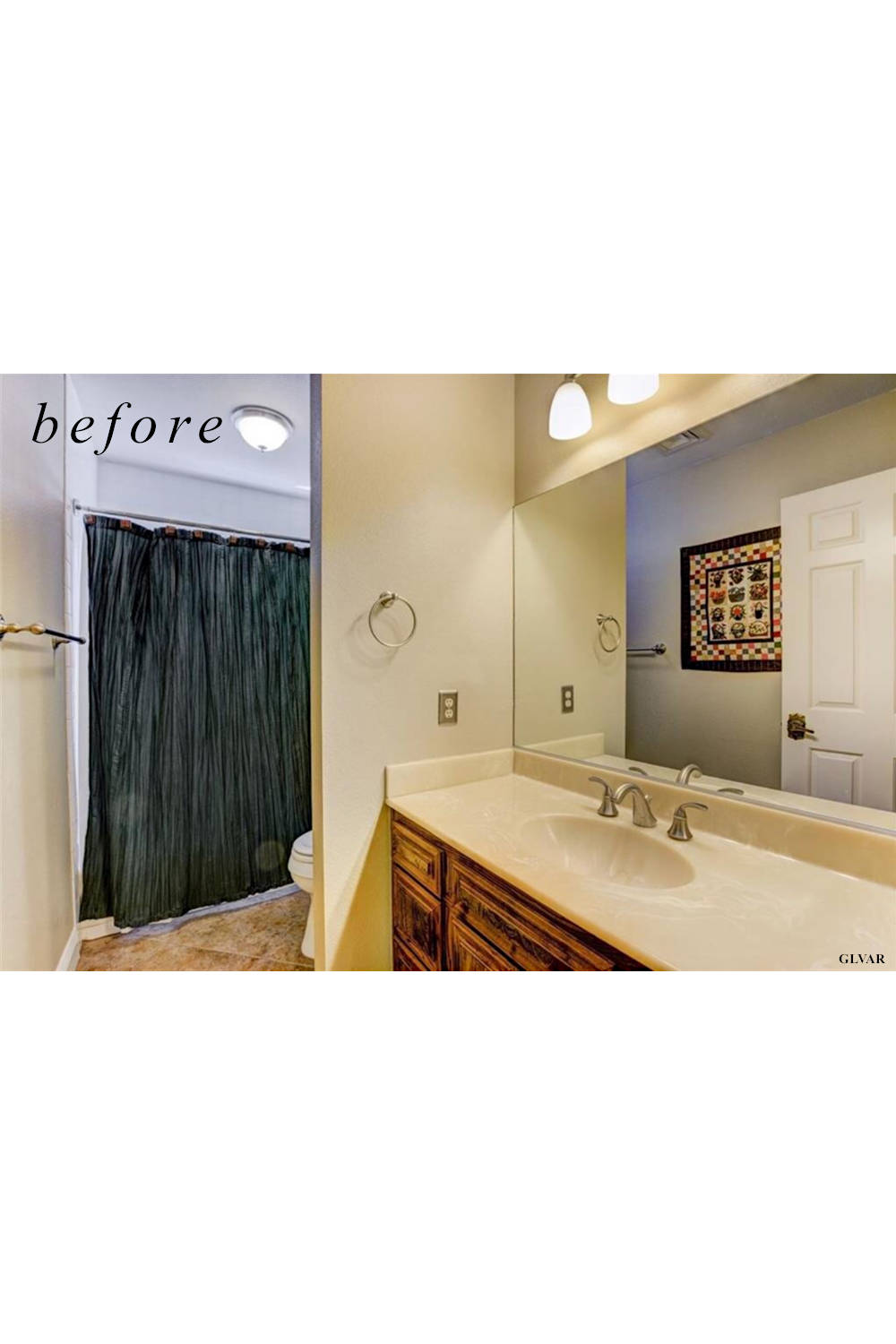 Before remodel image: old and dated bathroom and shower.