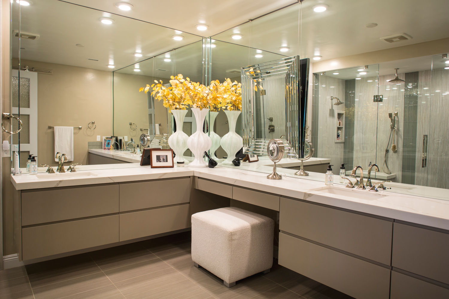 Master bath remodel with modern cabinets.
