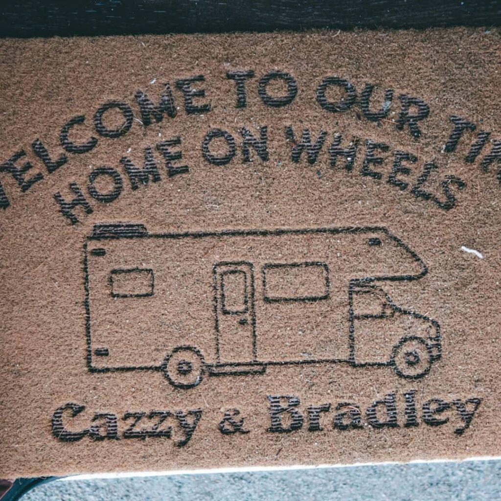 Cazzy and Bradley's Peugeot van conversion doormat