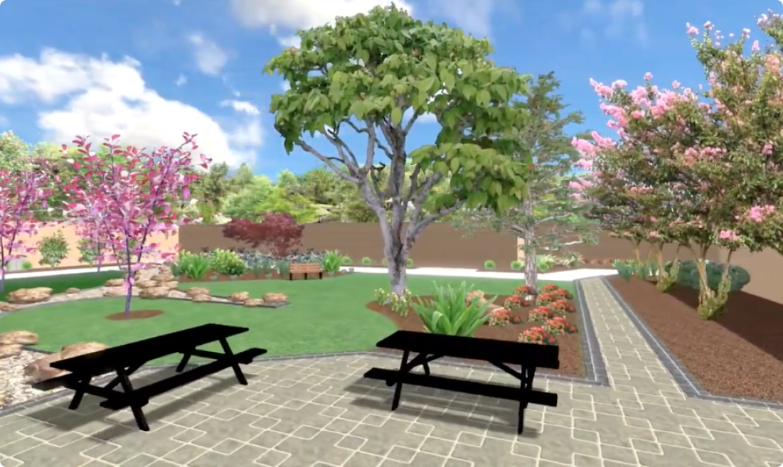 3D rendering of a yard with trees and picnic tables