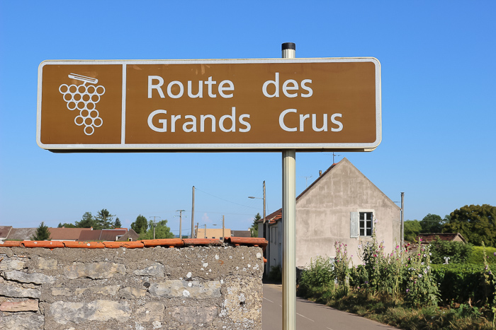 route des grands crus road sign in Burgundy