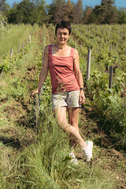 portrait of Celine Cote organic wine grower